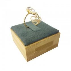Plot pour bague en bois et en suédine gris anthracite - 9251