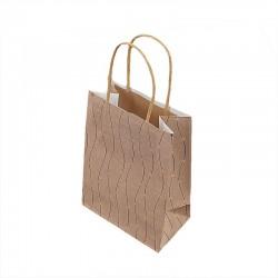 12 petits sacs kraft beige naturel motifs marguerites dorées 12x7x17cm - 9279