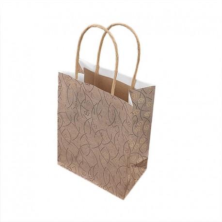 12 petits sacs kraft beige naturel motifs fleurs dorées 12x7x17cm - 9280