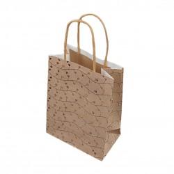 12 petits sacs kraft beige naturel motifs pois dorés 12x7x17cm - 9281