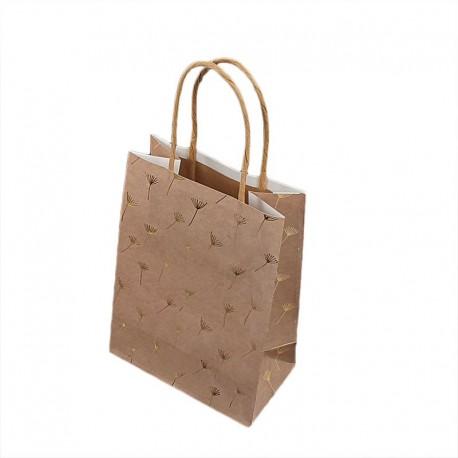12 petits sacs kraft beige naturel motifs pissenlits dorés 12x7x17cm - 9282