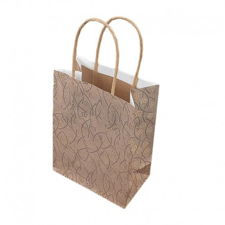 12 sacs kraft beige naturel motif brillant de fleurs 18x10x23cm - 9284