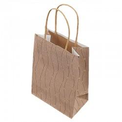 12 grands sacs kraft beige naturel motifs marguerites dorées 24.5x10.5x31cm - 9287