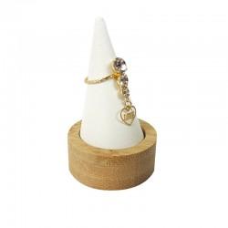 Cône pour bague en bois et en simili cuir blanc - 9255