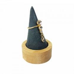 Cône pour bague en bois et en suédine gris anthracite - 9256