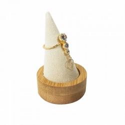 Cône pour bague en bois et en suédine beige - 9257
