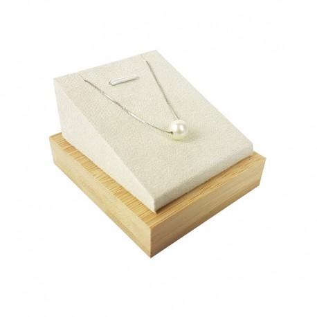 Support bijoux en bois et suédine beige pour pendentif - 9253
