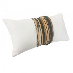 Coussin en simili cuir blanc 13x7cm - 9266