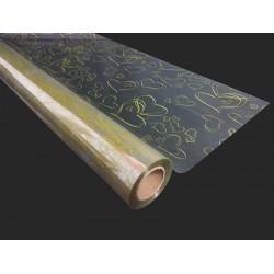 Rouleau de papier cadeaux transparent motif cœurs dorés 50m - 9240