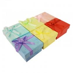 24 écrins bijoux 6 couleurs avec noeuds cadeaux satin - 10066