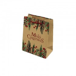 12 sacs cabas en papier kraft brun inscription Merry Christmas 15x7x20cm - 9295