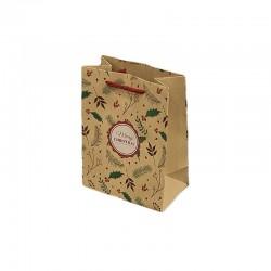 12 sacs cabas en papier kraft brun motif branche arbre de Noël 15x7x20cm - 9296