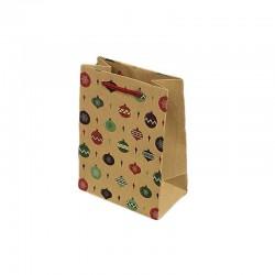 12 sacs cabas en papier kraft brun motif boules de Noël 15x7x20cm - 9297