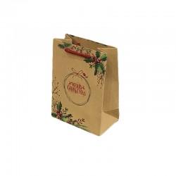 12 sacs cabas en papier kraft brun inscription Merry Christmas et houx 15x7x20cm - 9298