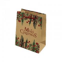 12 poches cadeaux kraft brun inscription Merry Christmas 26x10x32cm - 9303