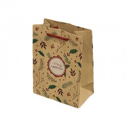 12 poches cadeaux kraft brun motifs branches d'arbre de Noël 26x10x32cm - 9304