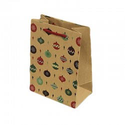 12 poches cadeaux kraft brun motifs boules de Noël 26x10x32cm - 9305
