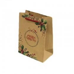 12 poches cadeaux kraft brun inscription Merry Christmas et houx 26x10x32cm - 9306