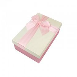 Boîte cadeaux bicolore rose et écrue 17x12x6.5cm - 9319p