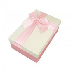 Boîte cadeaux de couleur rose et écrue 20x13.5x8cm - 9320m