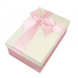 Boîte cadeaux rose et écru avec noeud ruban 22x15x9cm - 9321g