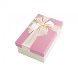 Boîte cadeaux bicolore écrue et rose 17x12x6.5cm - 9322p
