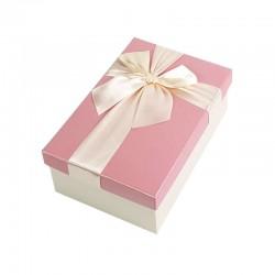 Boîte cadeaux de couleur écrue et rose 20x13.5x8cm - 9323m