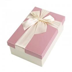 Boîte cadeaux écrue et rose avec noeud ruban 22x15x9cm - 9324g