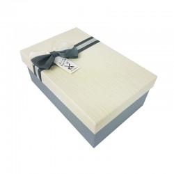 Boîte cadeaux bicolore gris clair et blanc cassé 18x11x6.5cm - 9337p