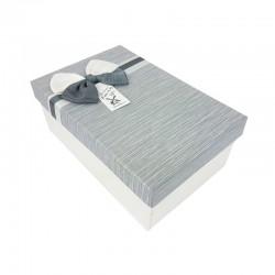 Boîte cadeaux bicolore écrue et gris clair 18x11x6.5cm - 9340p