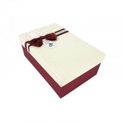 Boîte cadeaux bicolore rouge bordeaux et blanc cassé 18x11x6.5cm - 9343p