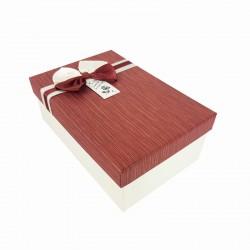 Boîte cadeaux bicolore écrue et rouge bordeaux 18x11x6.5cm - 9346p