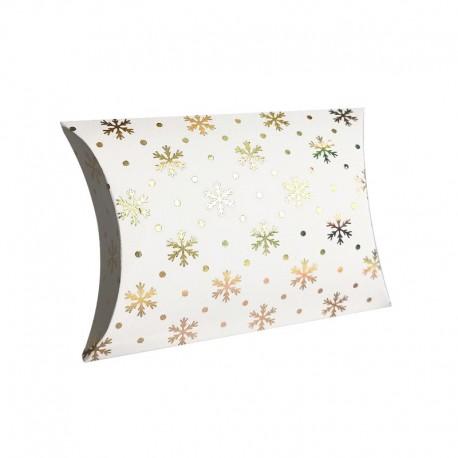 12 boîtes cadeaux berlingot blanches motifs flocons de neige 10x14x3cm - 9349