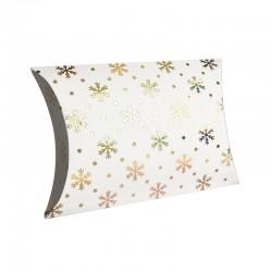 12 pochettes berlingot blanches motifs flocons de neige 14x19x4.5cm - 9357