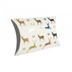 12 boîtes cadeaux berlingot blanches motifs rennes de Noël 10x14x3cm - 9355
