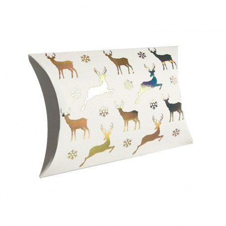 12 pochettes berlingot blanches motifs rennes de Noël 14x19x4.5cm - 9361