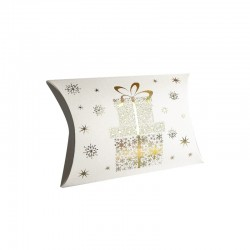 12 boîtes cadeaux berlingot blanches motifs cadeaux de Noël 10x14x3cm - 9356