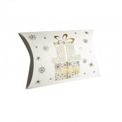 12 pochettes berlingot blanches motif cadeaux doré 14x19x4.5cm - 9362