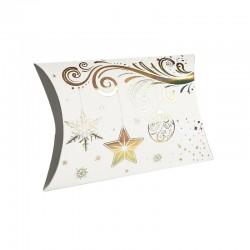 12 boîtes cadeaux berlingot blanches motifs décorations de Noël 10x14x3cm - 9350