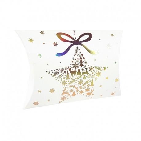 12 boîtes cadeaux berlingot blanches motif étoile de Noël 10x14x3cm - 9352
