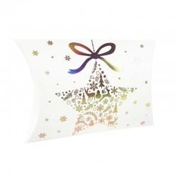 12 pochettes berlingot blanches motif étoile de Noël 14x19x4.5cm - 9359