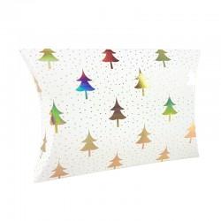 12 boîtes cadeaux berlingot blanches motifs sapins 10x14x3cm - 9351