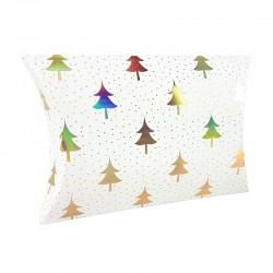 12 pochettes berlingot blanches motifs sapins 14x19x4.5cm - 9358