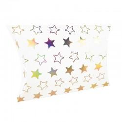 12 boîtes cadeaux berlingot blanches motifs étoiles 10x14x3cm - 9354