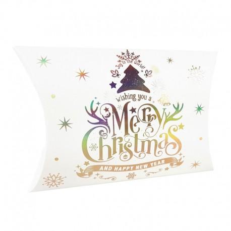 12 boîtes cadeaux berlingot blanches inscriptions de Noël 10x14x3cm - 9353
