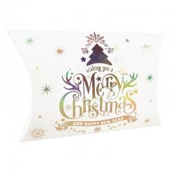 12 pochettes berlingot blanches inscriptions de Noël 14x19x4.5cm - 9360