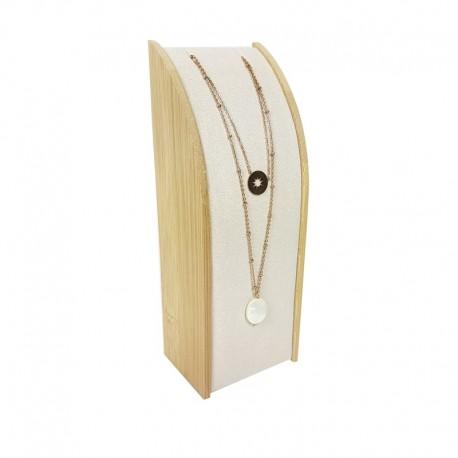 Porte collier rectangulaire en bois et suédine beige - 9370