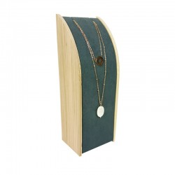 Porte collier rectangulaire en bois et suédine gris anthracite - 9371