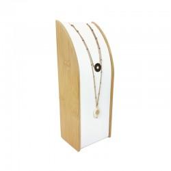 Porte collier rectangulaire en bois et en simili cuir blanc - 9372
