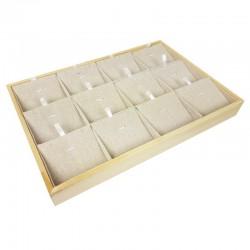 Plateau de présentation en bois et coton beige 12 chaînes et pendentifs - 9376